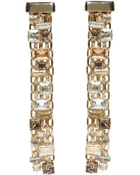 Lanvin Gold Crystal Skinny Clip On Earrings