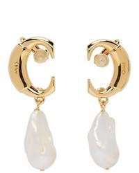 Chloé Gold Darcey Pearl Drop Earrings