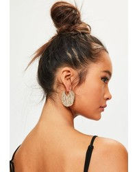 Missguided Gold Hammered Metal Hoop Earrings
