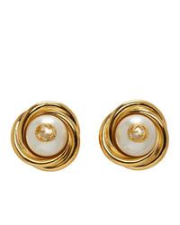 Gucci Gold Interlocking G Pearl Earrings