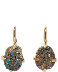 Christopher Kane Gold Iridescent Single Stone Earrings