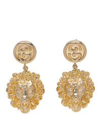 Gucci Gold Lion Head Earrings