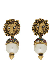 Gucci Gold Pearl Lion Head Earrings
