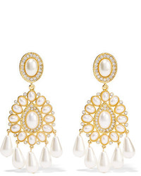 Kenneth Jay Lane Gold Plated Crystal And Faux Pearl Clip Earrings