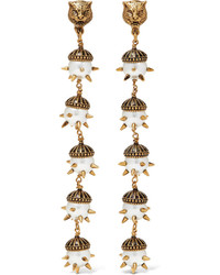 Gucci Gold Plated Faux Pearl Clip Earrings
