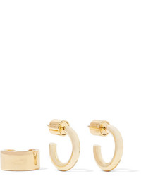 Jennifer Fisher Gold Plated Hoop Earrings And Ear Cuff Set