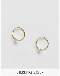Asos Gold Plated Sterling Silver Crystal Through Hoop Earrings
