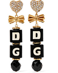 Dolce & Gabbana Gold Plated Swarovski Crystal And Resin Clip Earrings