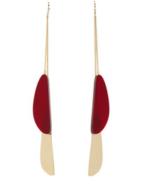 Isabel Marant Gold Red Double Pendant Earrings