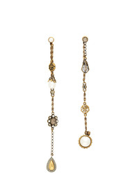 Alexander McQueen Gold Signature Chain Drop Earrings