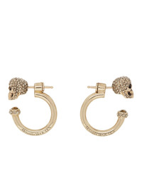 Alexander McQueen Gold Small Skull Hoop Earrings