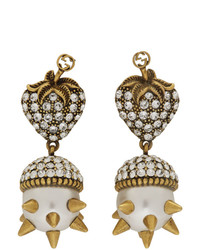 Gucci Gold Studded Pearl Earrings
