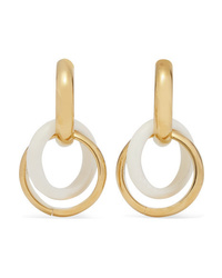 Bottega Veneta Gold Tone And Bone Hoop Earrings