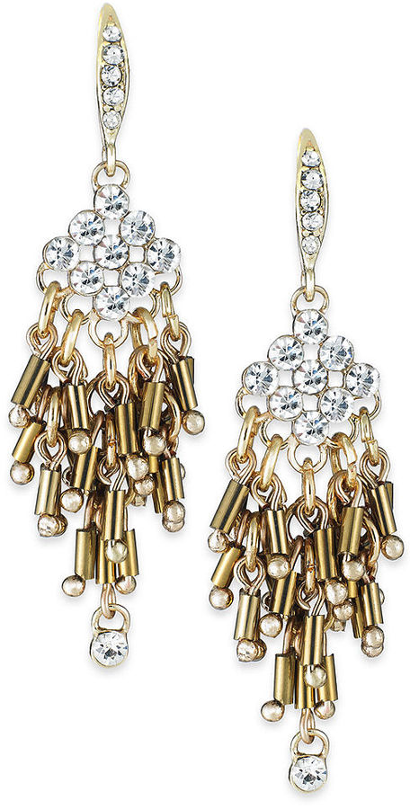 Abs by allen schwartz gold tone crystal and bead fringe chandelier abs by allen schwartz gold tone crystal and bead fringe chandelier earrings aloadofball Image collections