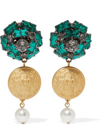 Dolce & Gabbana Gold Tone Crystal And Faux Pearl Clip Earrings