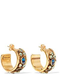 Etro Gold Tone Crystal Hoop Earrings