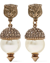 Gucci Gold Tone Faux Pearl And Crystal Earrings