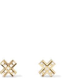 Givenchy Gold Tone Faux Pearl Earrings