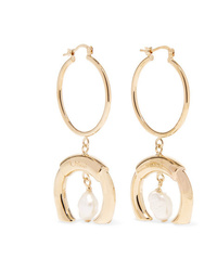 Chloé Gold Tone Faux Pearl Earrings