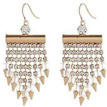 River Island Gold Tone Rhinestone Spike Statet Earrings