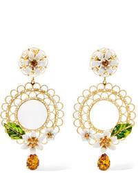 Dolce & Gabbana Gold Tone Swarovski Crystal And Enamel Clip Earrings One Size