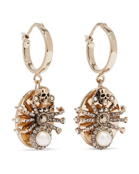 Alexander McQueen Gold Tone Swarovski Crystal And Faux Pearl Earrings