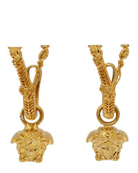 Versace Gold V Leaves Medusa Earrings