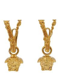 Versace Gold V Leaves Medusa Earrings
