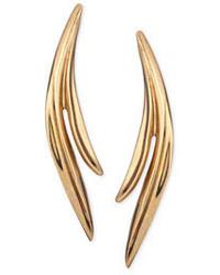 Oscar de la Renta Golden Palm Leaf Earrings