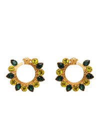 Versace Green Crystal Jungle Medusa Earrings