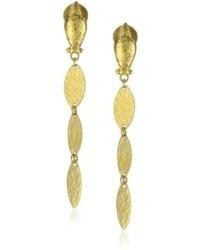 Gurhan Willow High Karat Gold Triple Leaf Drop Earrings 188