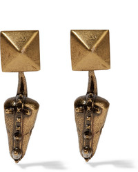 Valentino Hammered Gold Plated Earrings One Size