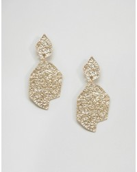 Asos Hammered Metal Drop Earrings