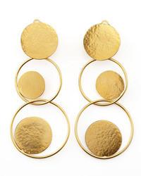 Herve Van Der Straeten Herve Van Der Strten Hammered Gold Circle Drop Earrings
