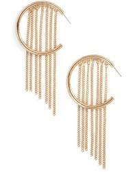 Ettika Hoop Chain Fringe Earrings