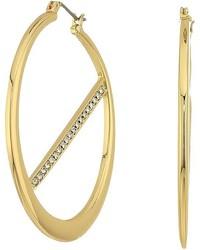 GUESS Hoop Earrings W Pave Bar Inside Earring