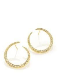 Ila Ahdra Val Diamond 14k Yellow Gold Hoop Earrings085