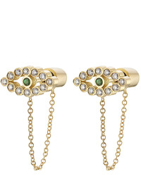 Ileana Makri 18k Yellow Gold Earrings With White Diamonds And Tsavorite