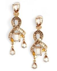 Oscar de la Renta Intertwined Baguette Crystal Earrings