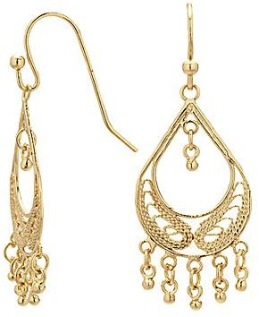 Bridge Jewelry Silver Reflections Gold Over Br Filigree Fringed Teardrop Chandelier Earrings