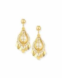 Jose & Maria Barrera Hammered Golden Teardrop Statet Earrings