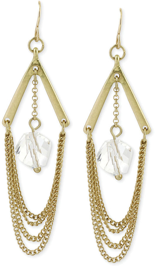 Kenneth Cole New York Gold Tone Crystal Drop Chain Chandelier – Gold Tone Chandelier Earrings
