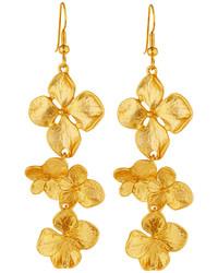 Kenneth Jay Lane Satin Finished Golden Flower Drop Earrings