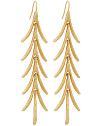 Kenneth Jay Lane Satin Finished Golden Leaf Drop Earrings