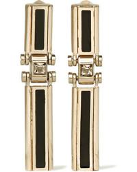 Lanvin Gold Tone Swarovski Crystal And Resin Clip Earrings Metallic