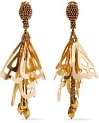 Oscar de la Renta Large Impatiens Gold Tone Resin Clip Earrings