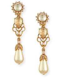 Oscar de la Renta Linear Pearly Drop Earrings