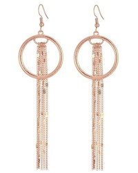 GUESS Long Fringe Chain With Ring Drop Earrings Earring