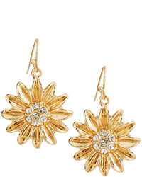 Lydell NYC Sunflower Drop Earrings Gold