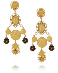Dolce & Gabbana Madonne Gold Plated Faux Pearl Clip Earrings